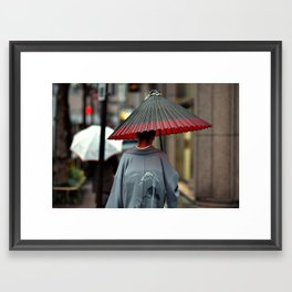 Geisha Walking Framed Art Print