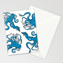 Sea-life Collection - Octopus - Ocean-Blue Stationery Cards