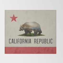 California Grizzly Bear Flag Throw Blanket
