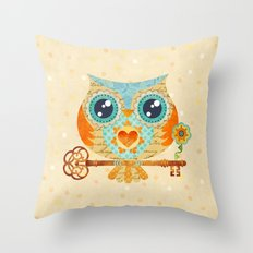 Owl's Summer Love Letters Throw Pillow