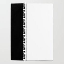Greek Key 2 - White and Black Poster