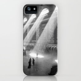 New York Grand Central Train Station Terminal Black and White Photographic Print iPhone Case
