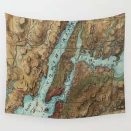 Vintage Map of New York City Harbor (1864)  Wall Tapestry