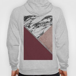 Marble Rose Gold Red Wine Triangle Geometric Hoody