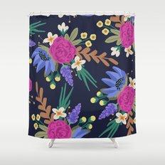 Dark Floral Shower Curtain