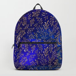Glitter Gold Petit Leaves on Purple Blue Background Backpack