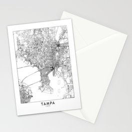 Tampa White Map Stationery Cards