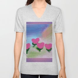 Hearts from a Rose Pink and Purple Unisex V-Neck