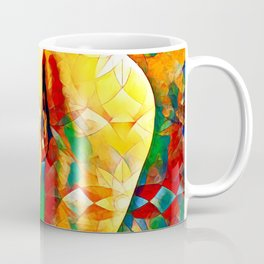 2128-JPC Colorful Abstract Nude Woman Rear View on Hands and Knees Coffee Mug