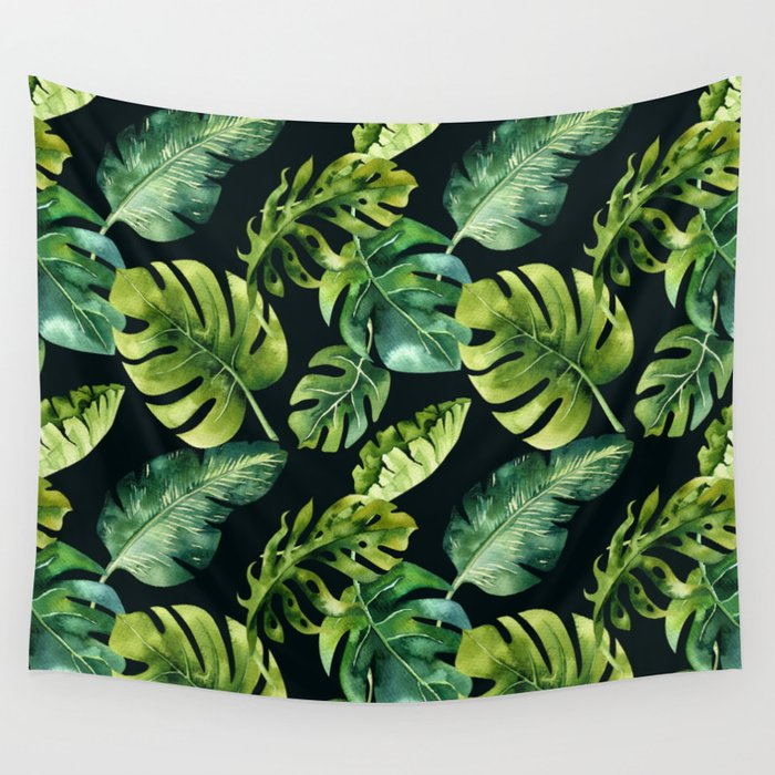 Watercolor Botanical Tropical Palm Leaves on Solid Black Background Wall Tapestry