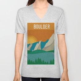 Boulder, Colorado - Skyline Illustration by Loose Petals Unisex V-Neck
