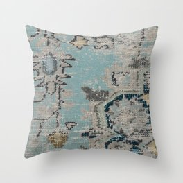 Aqua and Gray Vintage Kilim Square Throw Pillow