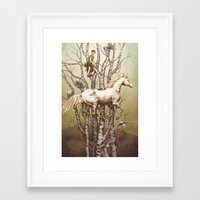 carousel Framed Art Prints featuring Carousel by Kate O'Hara Illustration