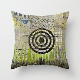Bullseye Abstract Art Collage Throw Pillow