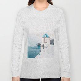 Santorini Greece Mamma Mia blue-white travel photography in hd. Long Sleeve T-shirt