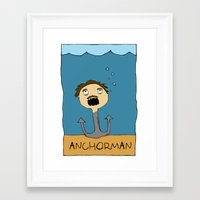 anchorman Framed Art Prints featuring ANCHORMAN! by Paige Turner