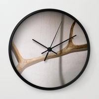 antler Wall Clocks featuring antler by erinreidphoto