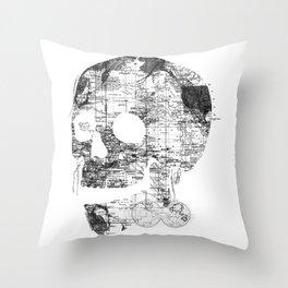 Skull Wanderlust Black and White Throw Pillow
