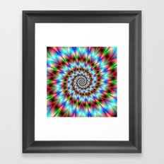 Spiral Rosette in Blue Green and Red Framed Art Print