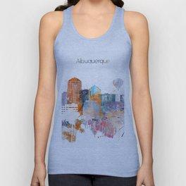 Colorful Albuquerque watercolor skyline Unisex Tank Top