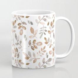 Watercolor brown fall autumn leaves floral Coffee Mug