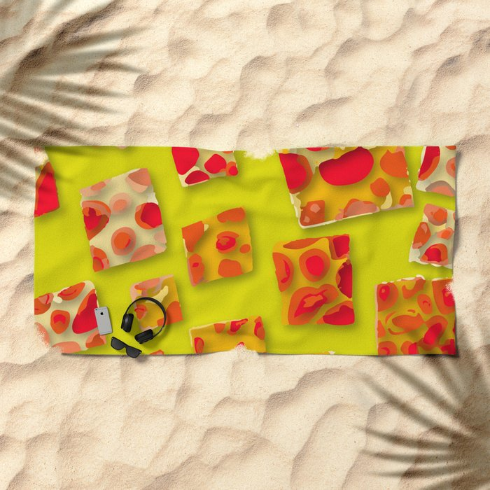 red spotted rectangles Beach Towel
