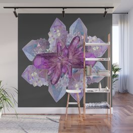 DRUZY QUARTZ & PURPLE AMETHYST CRYSTALS FEBRUARY GEMS Wall Mural