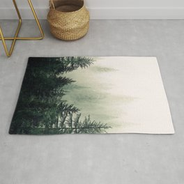 Foggy Pine Trees Rug