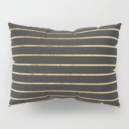Elegant Chic Yellow Gold Stripes and Black Pillow Sham