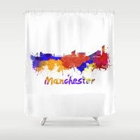 manchester Shower Curtains featuring Manchester skyline in watercolor by Paulrommer