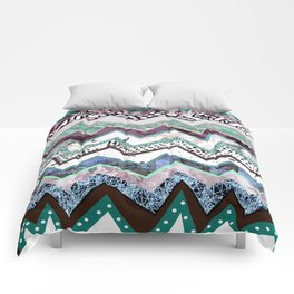 Cool Blues Zigzags Abstract Comforters