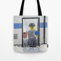 police Tote Bags featuring Police Officer by Pedro Nogueira