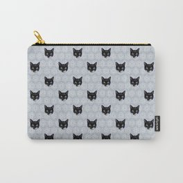 Tuxedo Cat Faces with Gray Floral Ornament Pattern Carry-All Pouch