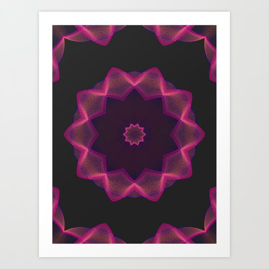 Electric heart made of strings Art Print