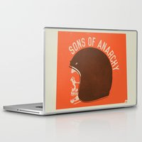 sons of anarchy Laptop & iPad Skins featuring Sons of Anarchy Skull Helmet by Ryder Doty