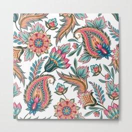 Boho Chic Paisley Floral Metal Print