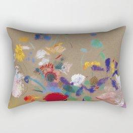 "Odilon Redon ""Flowers on a grey background (Fleurs sur fond gris)"" Rectangular Pillow"