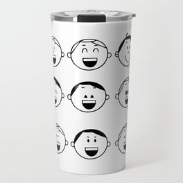 Set of Adorable Boy facial emotions. Boy face with different expressions. The boy portrait avatars. Variety of emotions teen guy. Travel Mug