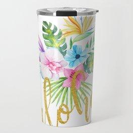 Hawaiian multicolored floral bouquet with faux gold aloha brush script Travel Mug