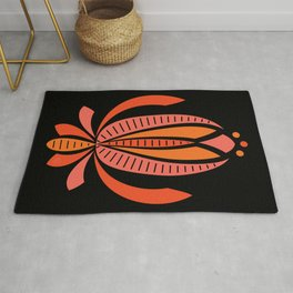 Abstract Stripey Floral – Reds on Black (pattern) Rug