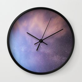 Pink Glitter Galaxy Wall Clock