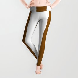 Dark bronze brown - solid color - white vertical lines pattern Leggings