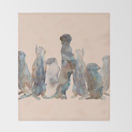 Meerkats Meeting Throw Blanket