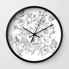 Black jook doodles Wall Clock