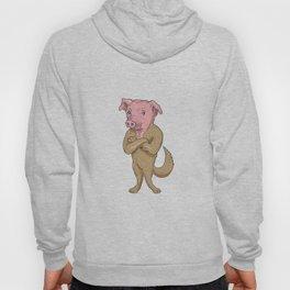 Pig Dog Standing Arms Crossed Cartoon Hoody