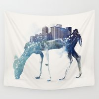 city Wall Tapestries featuring City Deer by Robert Farkas