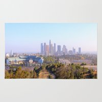los angeles Area & Throw Rugs featuring Los Angeles by Arturo Garcia