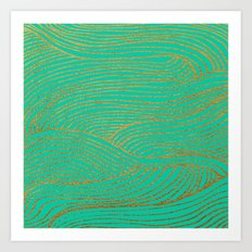 Wind Gold Turquoise Art Print