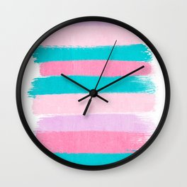 Stripes turquoise pink bright pink pastels beach spring summer trendy color palettes Wall Clock