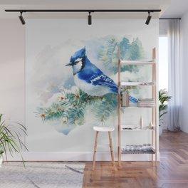 Watercolor Blue Jay Wall Mural
